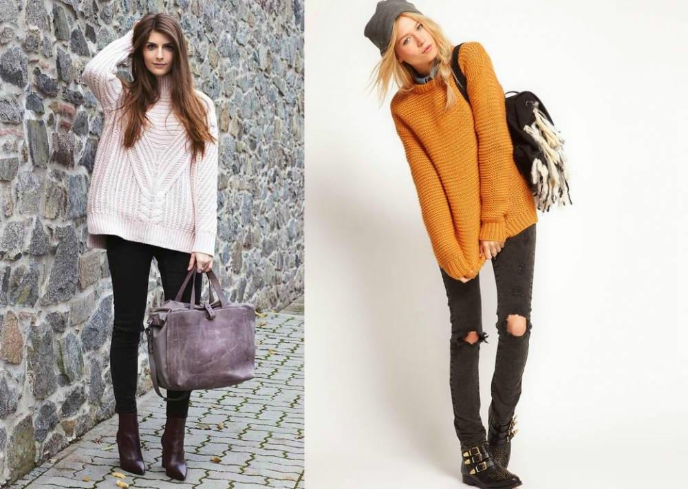 свитер овсерайз в гардеробе девушки