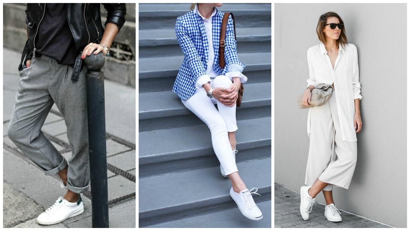 правила сочетания белых кроссовок с одеждой